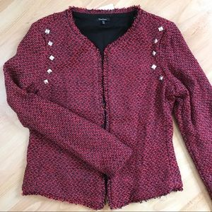 Red Tweed Open Front Studded Blazer